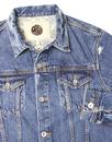 PRETTY GREEN Mens Retro 1970s Worn In Denim Jacket