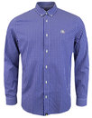pretty green francis retro mod gingham shirt blue