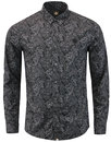 pretty green lescott 1960s mod paisley shirt black