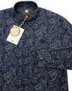 Lescott PRETTY GREEN 60s Mod Paisley Shirt - Navy