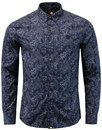pretty green lescott 1960s mod paisley shirt navy