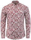 pretty green lescott retro mod paisley shirt red