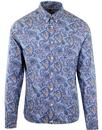 pretty green 60s mod signature paisley shirt blue