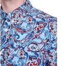 PRETTY GREEN Mod 60's Signature Paisley Shirt BLUE