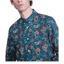 PRETTY GREEN Mod 60's Signature Paisley Shirt TEAL