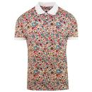 Pretty Green Retro Pop Art Mod Target Polo Shirt in Stone