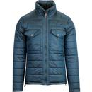 Pretty Green quilted funnel neck ski jacket blue