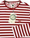 Kinsey PRETTY GREEN Mod Long Sleeve Stripe Tee RED