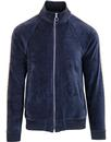 pretty green retro velour lace trim track top navy