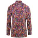 Pretty Green Men's 1960s Mod Vintage Paisley Kaftan Shirt
