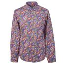 pretty green vintage paisley print shirt blue