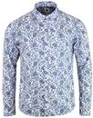 pretty green offshore 60s mod paisley shirt white