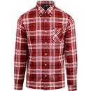 pretty green mens large check long sleeve shirt red white