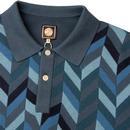 PRETTY GREEN Retro Chevron Block Knitted Mod Polo
