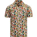 pretty green mens retro floral print cuban collar short sleeve shirt white