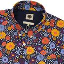 PRETTY GREEN Retro 60s Mod Bold Floral Print Shirt