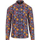 pretty green mens slim fit 60s bold floral print long sleeve shirt multicolour
