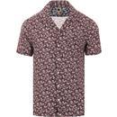 pretty green mens floral print short sleeve bowling shirt red navy