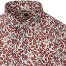 PRETTY GREEN Liberty Print Retro Floral Shirt Red