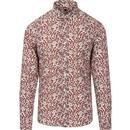 pretty green mens liberty floral print long sleeve shirt cream red