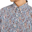PRETTY GREEN Liberty Print Paisley Shirt In Blue