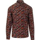 PRETTY GREEN Mod Psychedelic Button Down Shirt (O)