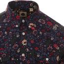 PRETTY GREEN Retro Mod Floral Print Shirt (Navy)