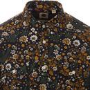 PRETTY GREEN 60s Mod Floral Button Down Shirt TAN