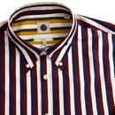 PRETTY GREEN Slim Fit Retro Stripe L/S Shirt Navy