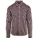 pretty green mens slim fit stripe print long sleeve shirt navy red