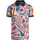 pretty green mens union jack print polo tshirt blue