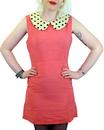 Spot Collar Retro Mod Sixties Mini Dress (Pink)