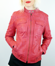 MADCAP ENGLAND WOMENS RETRO LEATHER JACKET PINK