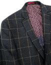 Retro Mod Window Pane Tweed Check 2 Button Blazer