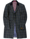 Scottie Men's Retro 1960s Mod Tweed Check Overcoat