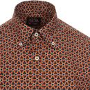 SKA & SOUL 60s Mod Floral Op Art Button Down Shirt