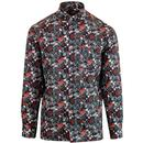 ska & soul mens shirt floral black red