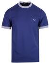 fred perry stripe rib pique tee rich navy