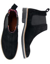 Retro 60s Mod Suede Tipped Colour Chelsea Boots Bl