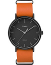 Timex weeknder fairfield leather watch orange