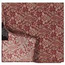 tootal scarves mens antique tile print rayon pocket square brick red