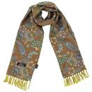 Tootal Floral paisley print rayon scarf earth brown