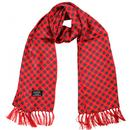 tootal mini geo tile print silk scarf red