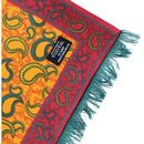 TOOTAL Retro Mod 60s Brush Back Paisley Silk Scarf