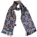 tootal scarves retro paisley print silk scarf navy