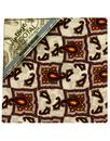 Tootal Scarves Pocket Square Ivory Gold Tile