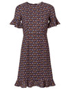 Traffic People Retro 70s Vintage Party Dress Wine