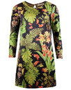 traffic people 60s mod floral suedette shift dress