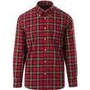 trojan records mens 60s mod tartan check long sleeve shirt red