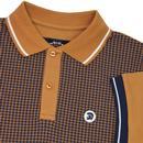 TROJAN RECORDS Retro Mod Dogtooth Polo Shirt (Tan)